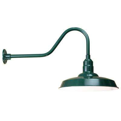 1-Light Outdoor Green Angled Arm Wall Sconce