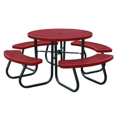46 in. Red Picnic Table with Built-In Umbrella Support