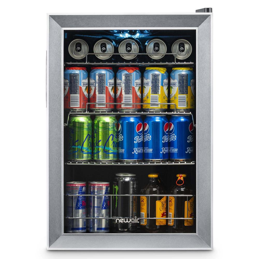 NewAir Premium 17 in. 90 (12 oz.) Can Icy Cold Down to Frosty 34° Freestanding Refrigerator Beverage Cooler - Stainless Steel