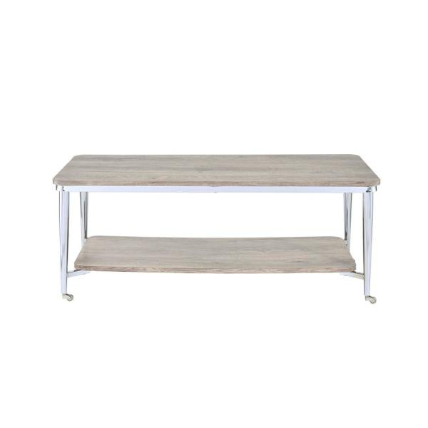 Exceptionnel Acme Furniture Lukey Gray Oak And Chrome Coffee Table