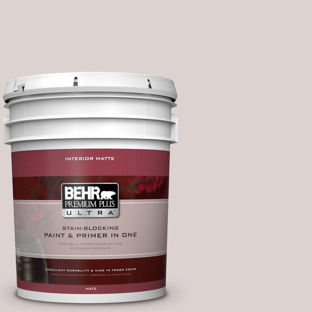 BEHR Premium Plus Ultra 5 gal. #750A-2 Feather Gray Flat/Matte Interior Paint