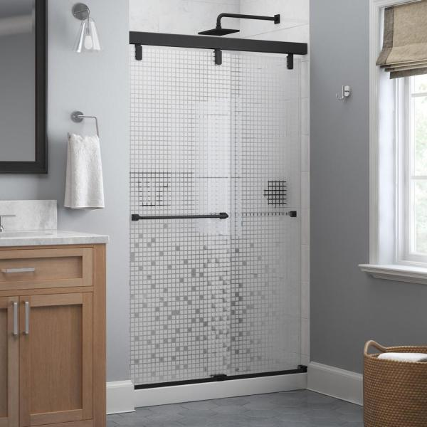 Everly 48 in. x 71-1/2 in. Mod Semi-Frameless Sliding Shower Door in Matte Black and 1/4 in. (6mm) Mozaic Glass