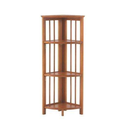 Walnut Folding Corner Open Bookcase