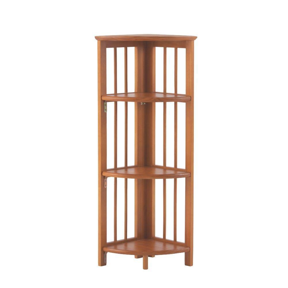 Walnut Folding Corner Open Bookcase