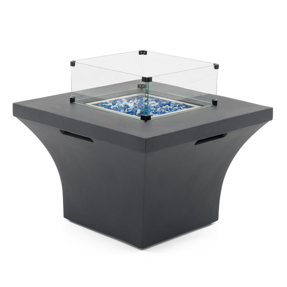 RST Brands Solara 36 in. x 24 in. Square Magnesia Propane Fire Pit Table in Charcoal Grey