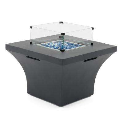 Solara 36 in. x 24 in. Square Magnesia Propane Fire Pit Table in Charcoal Grey