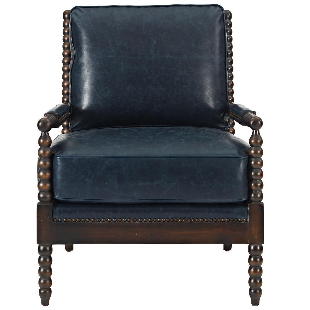 Beau Revel Blue Upholstered Vinyl Armchair