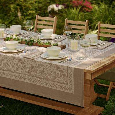 Milano 70 in. W x 126 in. L Fabric Tablecloth in Taupe