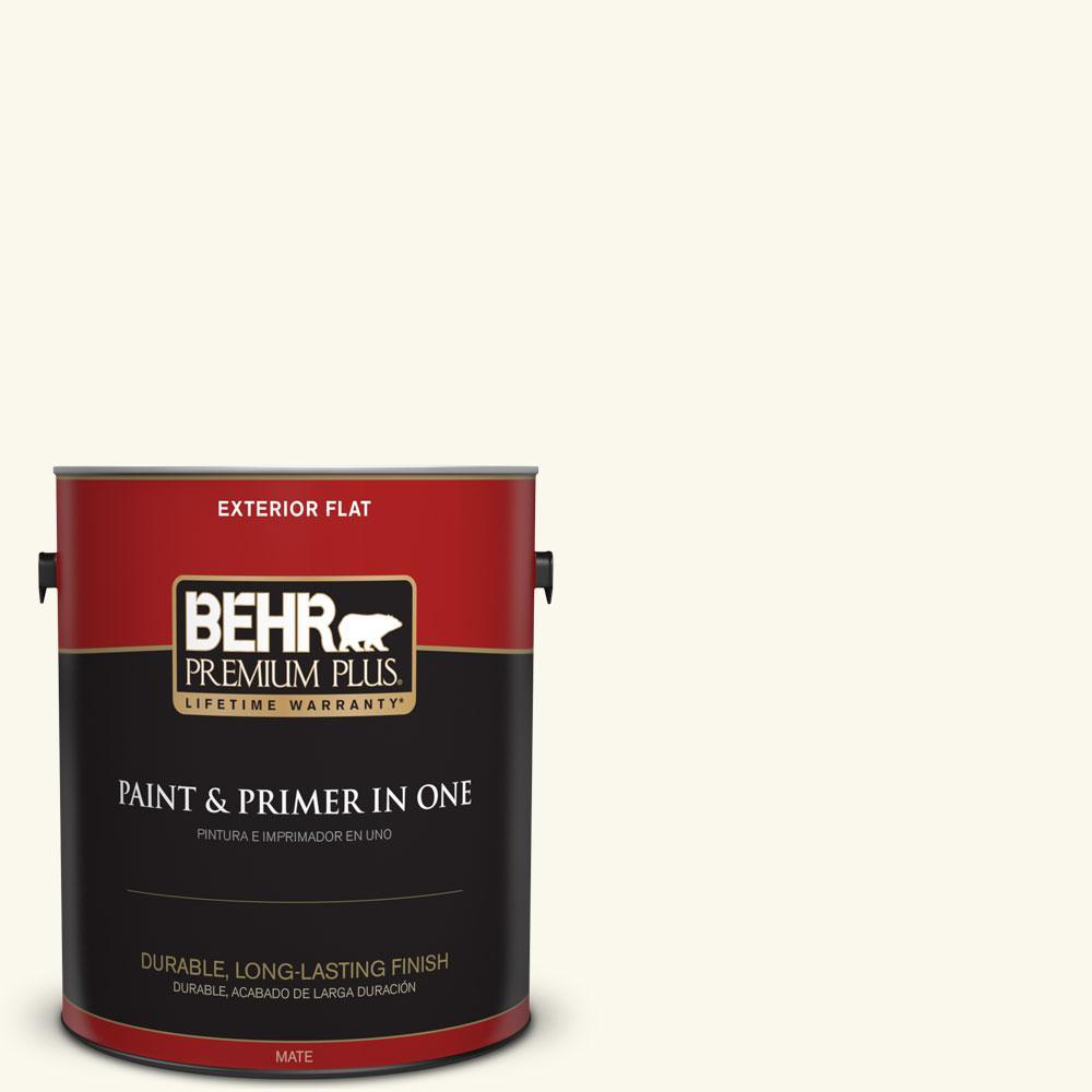 BEHR Premium Plus 1-gal. #BXC-29 Stately White Flat Exterior Paint