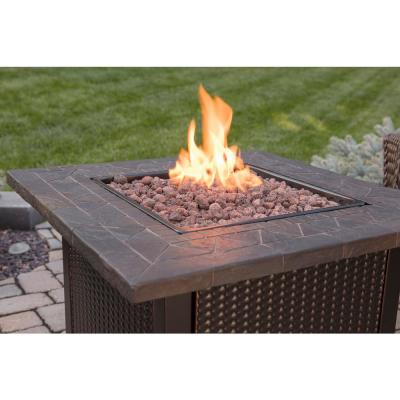 30 in. W Bronze Finish Steel Base Faux Slate Mantel LP Gas Fire Pit with  Electronic Igition and Lava Rocks