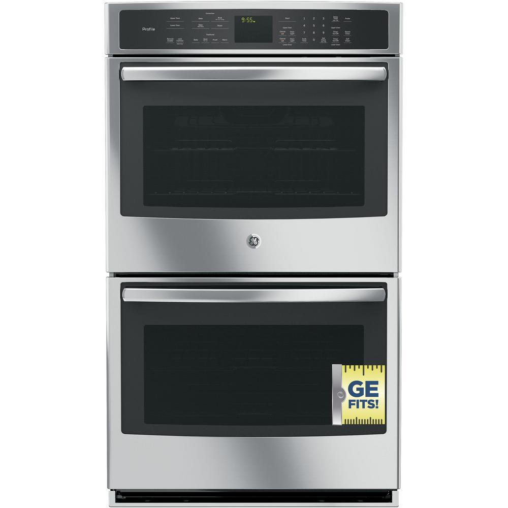 GE Profile 30 in.  Smart Double Electric Smart Wall Oven Self-Cleaning with Convection in Stainless Steel