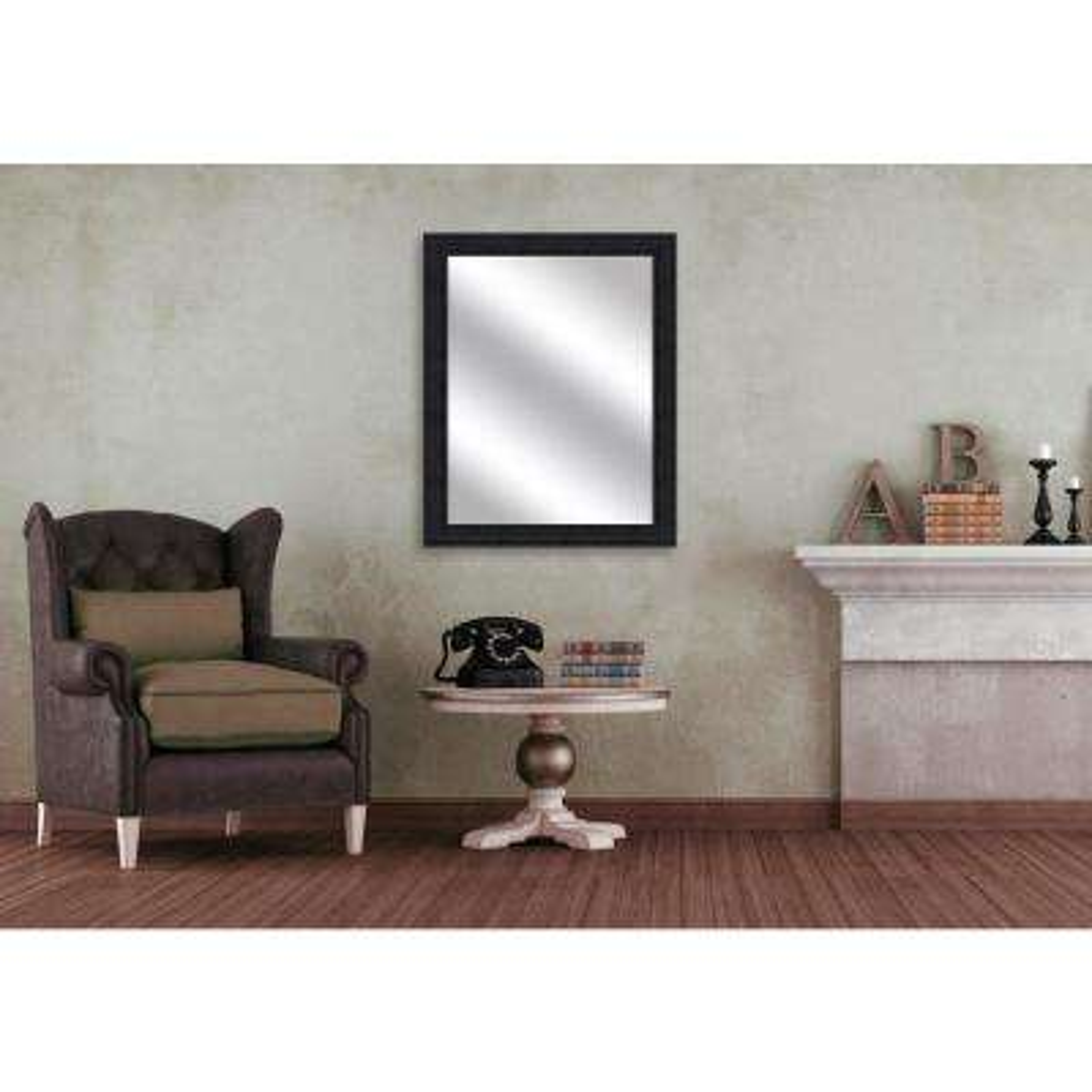 31.75 x 25.75 Framed Mirror in Wood Grain Black