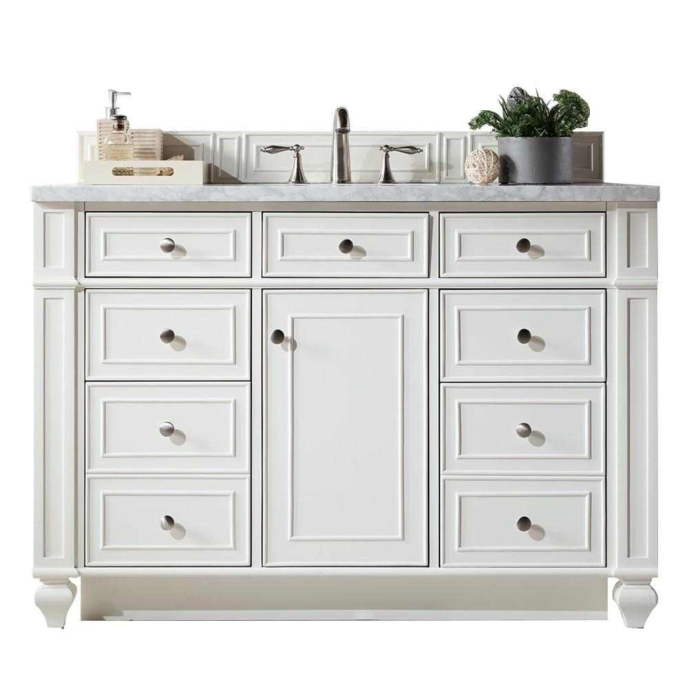 James Martin Vanities Bristol 48 in. W Single Vanity in Cottage White with Marble Vanity Top in Carrara White with White Basin