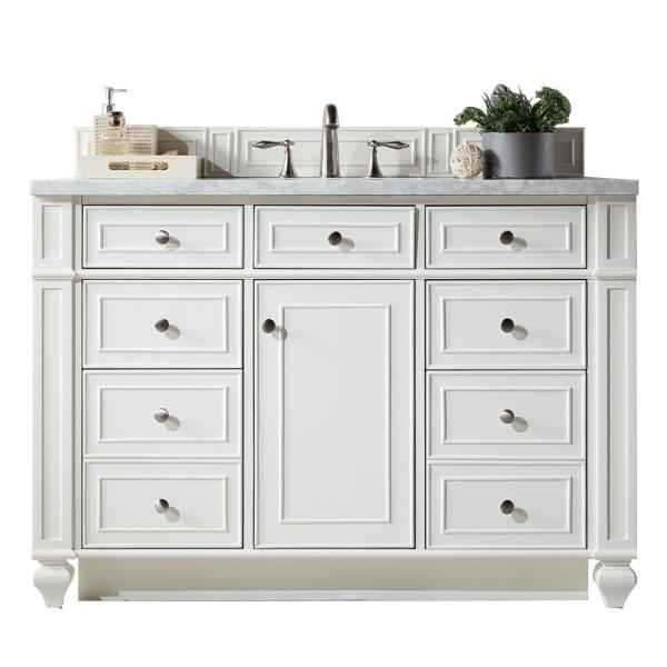 Bristol 48 in. W Single Bath Vanity in Cottage White with Marble Vanity Top in Carrara White with White Basin