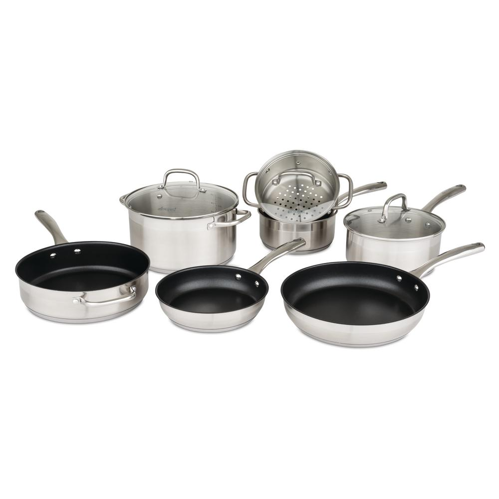 Allrecipes 2 Tone 10 Piece Stainless Steel Cookware Set 50131 9990 2tn The Home Depot