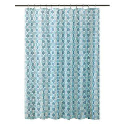 Peva 72 in. Blue 13-Piece Shower Curtain/Hook Set in Hexagon Design with 12-Roller Hooks