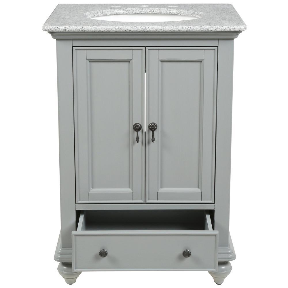 Newport 25 in. W x 21-1/2 in. D Bath Vanity in Pewter with Granite Vanity Top in Grey