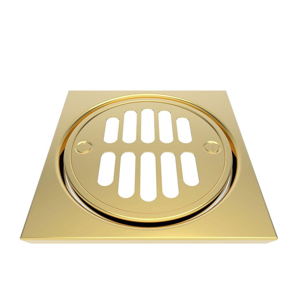 Brasstech Deluxe 4-1/4 in. Shower Drain Trim Set in Forever Brass