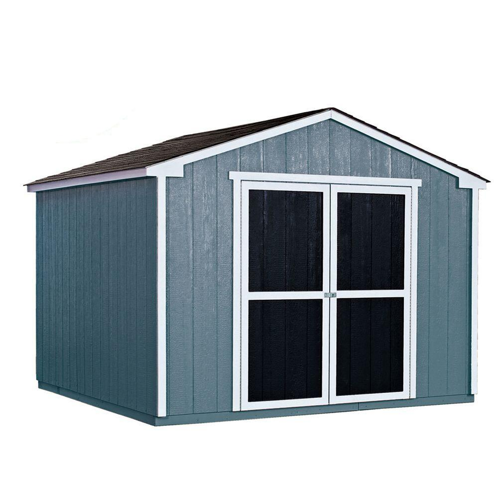 installed princeton 10 ft x 10 ft wood storage shed with onyx black shingles - Garden Shed Kits