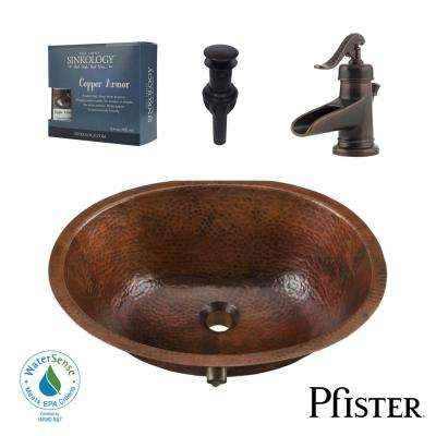 Pfister All-In-One Freud Undermount Bathroom Sink Design Kit in Aged Copper with Centerset Rustic Bronze Faucet