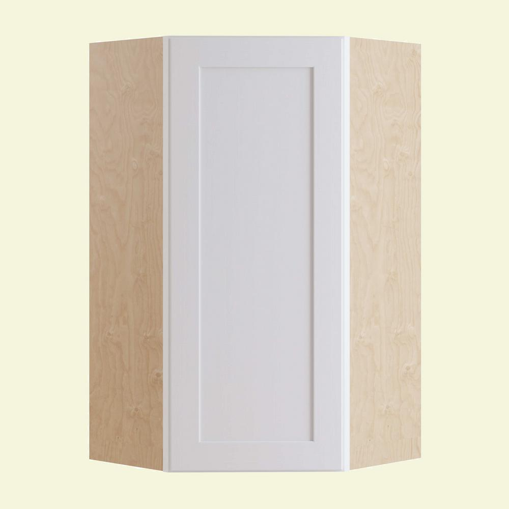 Home Decorators Collection Newport Assembled 24 In X 36 In X 24 In Wall Angle Corner Kitchen Cabinet Left Hand In Pacific White