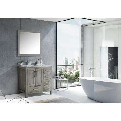 Jacques 36 in. Distressed Grey Single Vanity Top White Carrera Marble White Square Sink and 34 in. Mirror Right