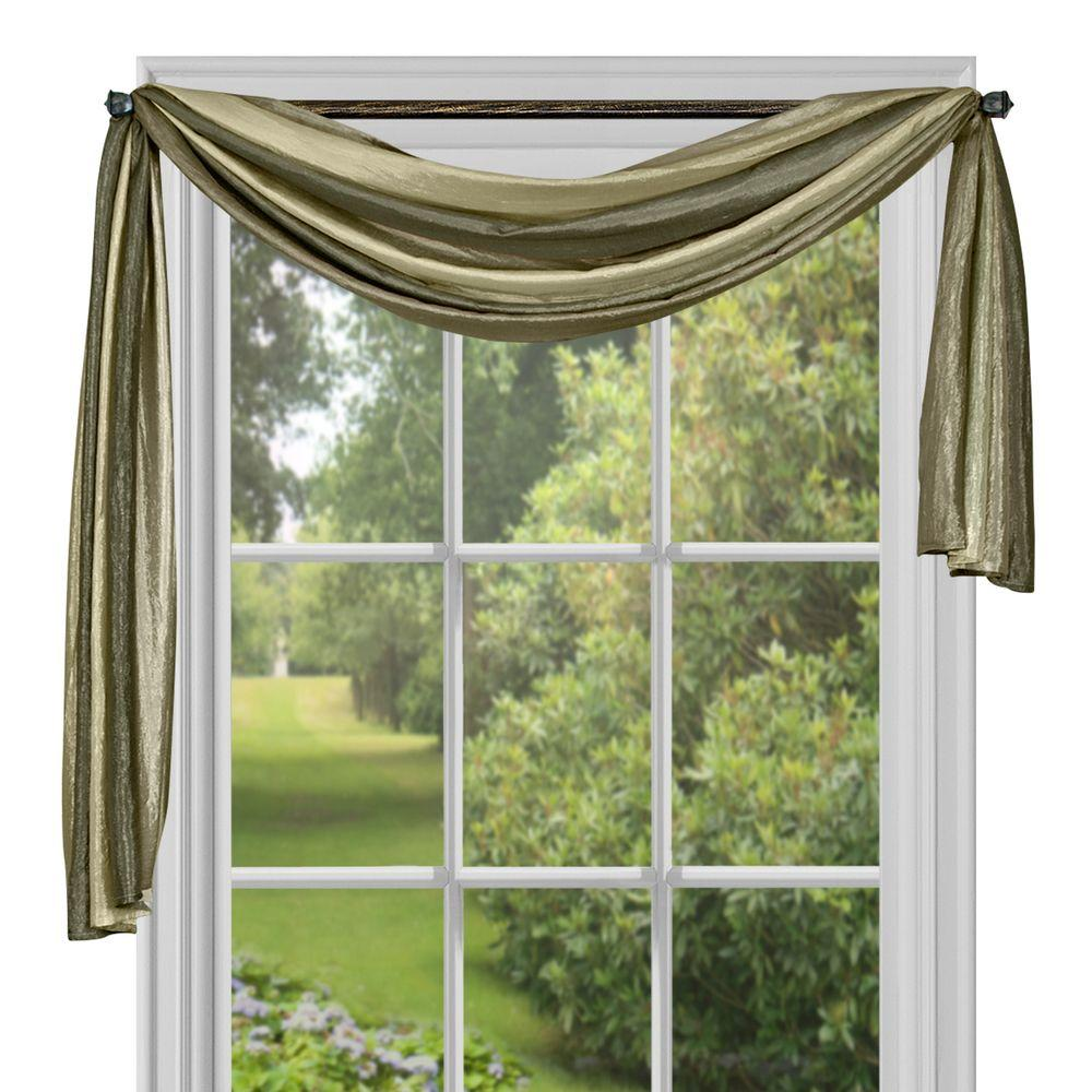 Achim Semi-Opaque Ombre Polyester 50 in. W x 144 in. L Scarf Curtain in Sage (Green)