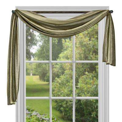 Semi-Opaque Ombre Polyester 50 in. W x 144 in. L Scarf Curtain in Sage