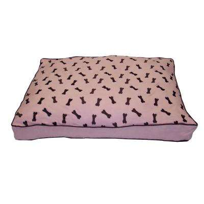 Medium to Large Ultima Suede Dog Bone Pink Pet Bed