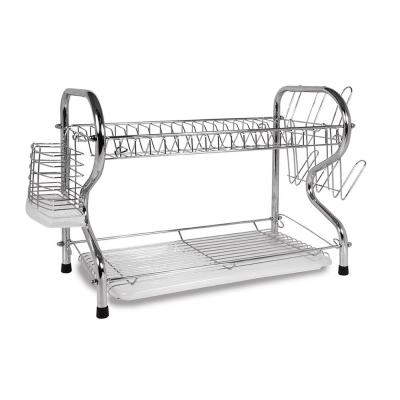 16 in. 2-Tier Silver Chrome Plated Standing Dish Rack