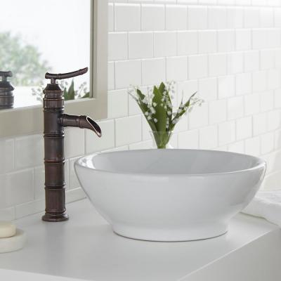 Bamboo Single Hole Single-Handle Vessel Bathroom Faucet in Heritage Bronze