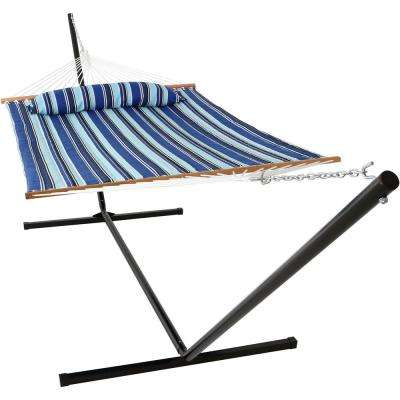 10-1/2 ft. Quilted Fabric Hammock with 15 ft. Hammock Stand in Catalina Beach