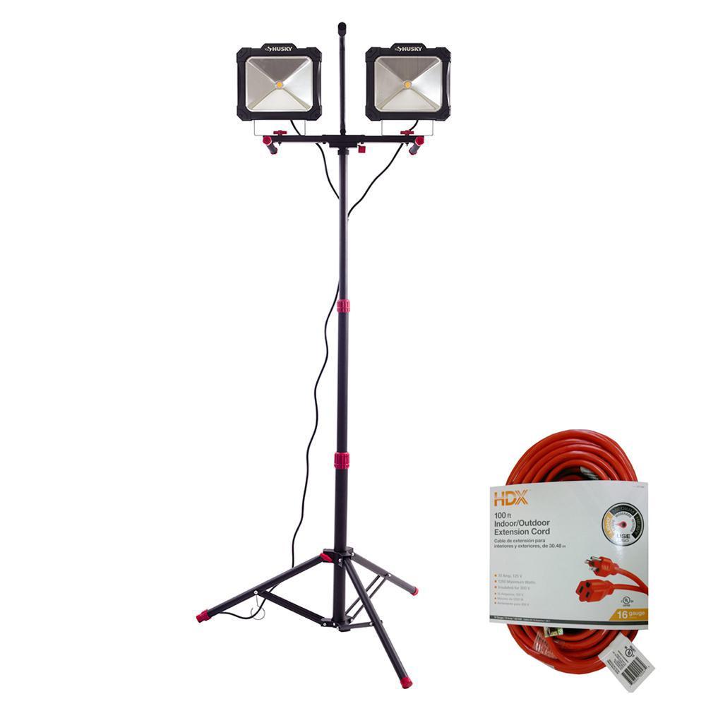 Husky 7,000 Lumen Twin-Head LED Work Light and 100 ft. 16/3 Indoor/Outdoor Extension Cord, Orange