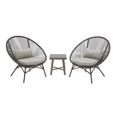 Dark Gray 3-Piece Steel Papasan Rope Outdoor Patio Conversation Seating Set with Gray Cushion