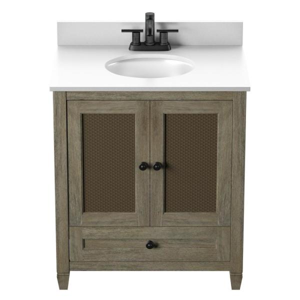 Twin Star Home 30 In Bath Vanity Rattan Doors In Randolf Oak With Stone Vanity Top In White And White Basin 30bv586 Qo672 The Home Depot
