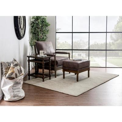 Eves Dark Brown Upholstered Fabric Accent Chair