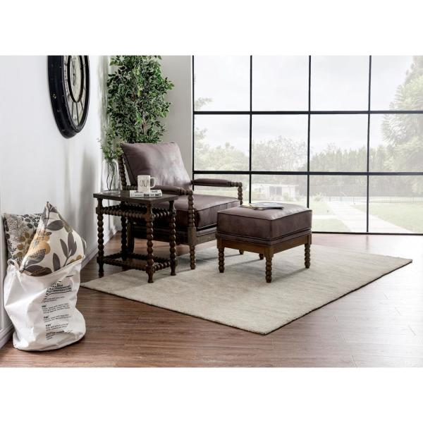 Furniture of America Eves Dark Brown Upholstered Fabric Accent Chair