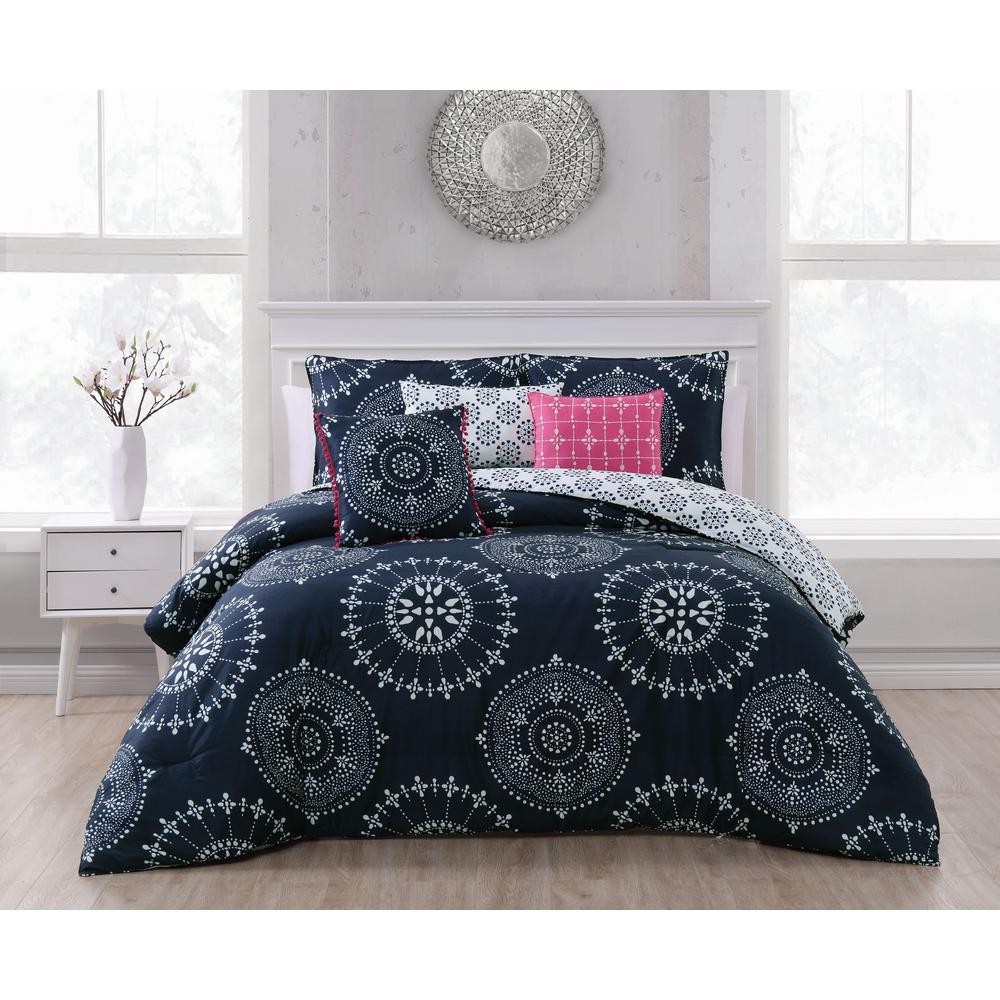 Addison House Zarina 6 Piece Indigo King Comforter Set