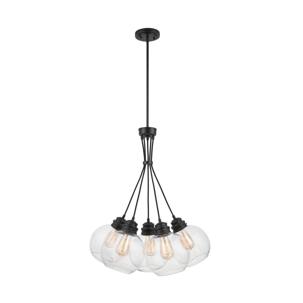 Home Decorators Collection 5-Light Aged Bronze Chandelier with Clear Glass Globes