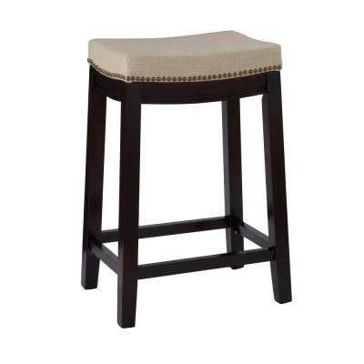 Hampton 24 In. Dark Walnut Cushioned Bar Stool