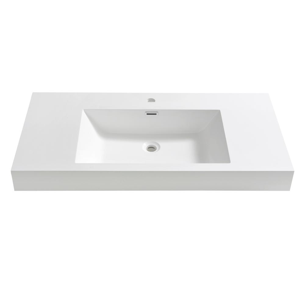 Mezzo 40 in. Drop-In Acrylic Bathroom Sink in White with Integrated