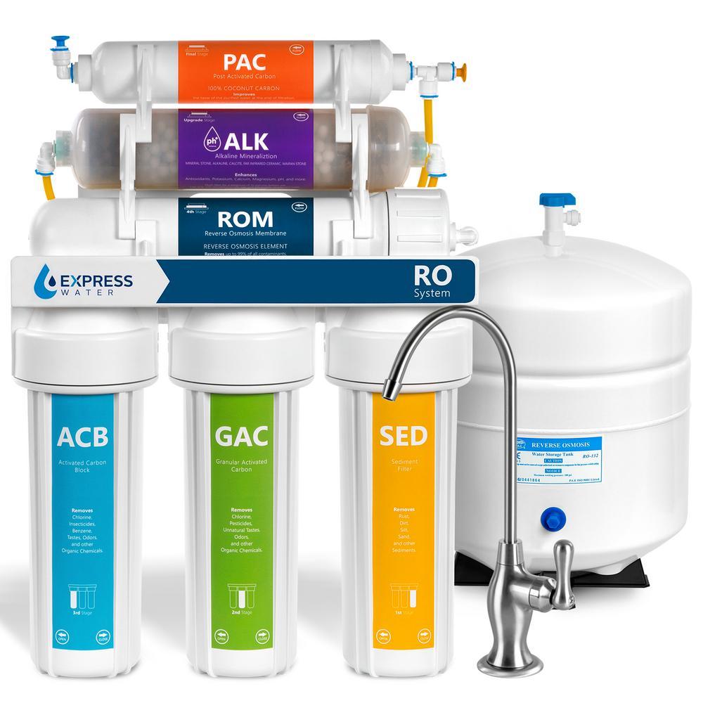Alkaline Under Sink Reverse Osmosis Water Filtration System - 10 Stage Mineralizer - pH +, Mineral, Antioxidant - 50 GPD