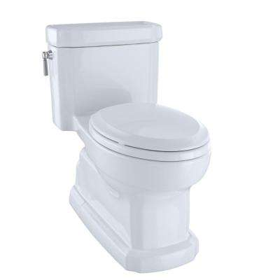 Eco Guinevere 1-Piece 1.28 GPF Single Flush Elongated Skirted Toilet with CeFiONtect in Cotton White