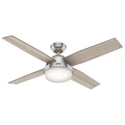 Dempsey 52 in. LED Indoor Brushed Nickel Ceiling Fan with Light