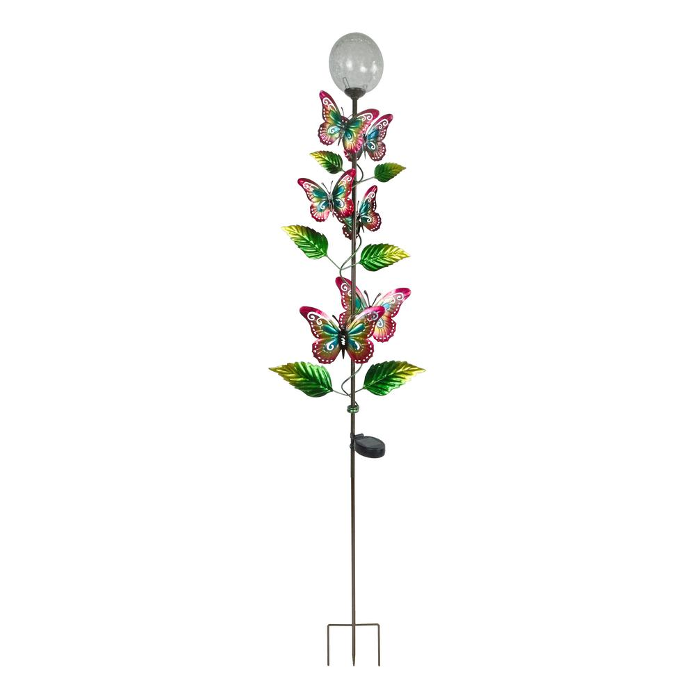 64 in. Tall Solar Metal Butterfly Garden Stake with White LED