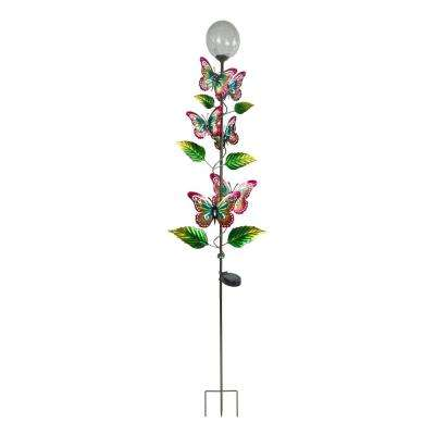 64 in. Tall Solar Metal Butterfly Garden Stake with White LED Light