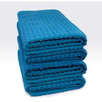 Piano Collection 27 in. W x 55 in. H 100% Turkish Cotton Luxury Bath Towel in Midnight Blue (Set of 4)