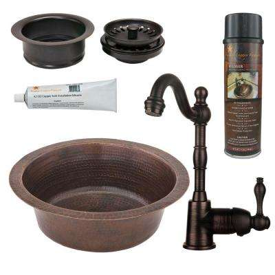All-in-One Dual Mount Copper 14 in. 0-Hole Round Bar/Prep Sink in Oil Rubbed Bronze