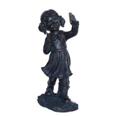 18 in. Girl with Cell Phone Solar Powered LED Lighted Statue
