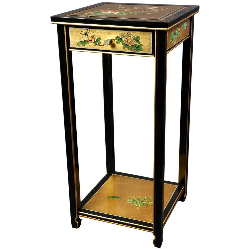 Lacquer Birds And Flowers Oriental Pedestal In Gold